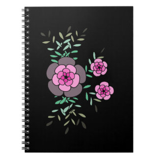 Reizendes rosa boutineer Schwarzes Notizblock