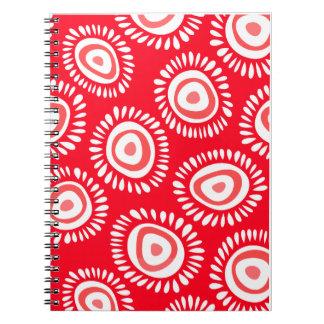 Reizendes rotes funky Blumen Notizbuch Spiral Notizblock