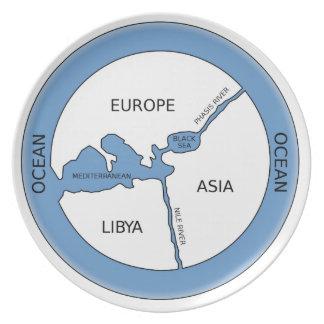 Rekonstruktion von Anaximanders Karte Melaminteller