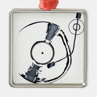 Rekordplattform-Hintergrund Quadratisches Silberfarbenes Ornament