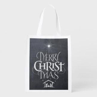 Religiöse christliche frohe Weihnacht-Tafel Wiederverwendbare Einkaufstasche