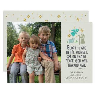 Religiöse Foto-Weihnachtskarte mit biblischem Vers Karte
