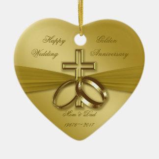 Religiöse goldene 50. Hochzeitstag-Verzierung Keramik Ornament