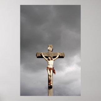 Religiöse Jesus Christuskreuzigungsskulptur Poster