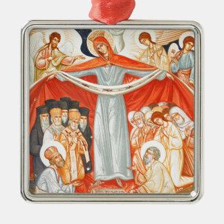 Religiöse Malerei Quadratisches Silberfarbenes Ornament