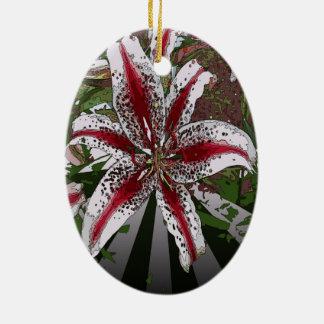 religiöse Ostern-Segenrosa-Orientale-Lilie Ovales Keramik Ornament