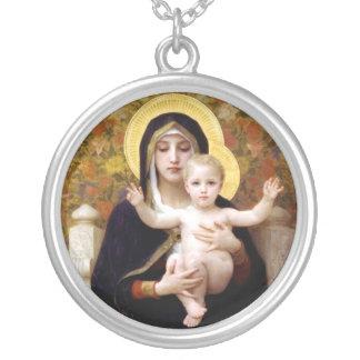 religiöses antikes Malerei madona mit Kind Halskette Mit Rundem Anhänger