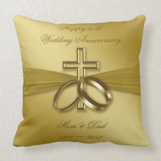 Religiöses goldenes 50. Jahrestags-Wurfs-Kissen Kissen