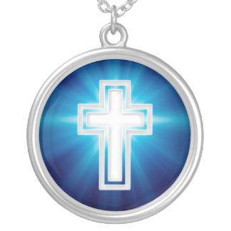 Religiöses Kreuz Versilberte Kette