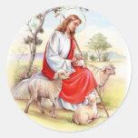 Religiöses Ostern, Jesus mit Schafen Runder Sticker