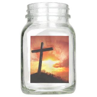 Religiöses Ostern-Kreuz am Sonnenuntergang Einmachglas