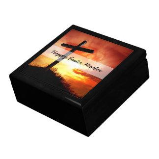Religiöses Ostern-Kreuz am Sonnenuntergang Geschenkbox