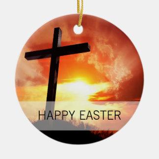 Religiöses Ostern-Kreuz am Sonnenuntergang Keramik Ornament
