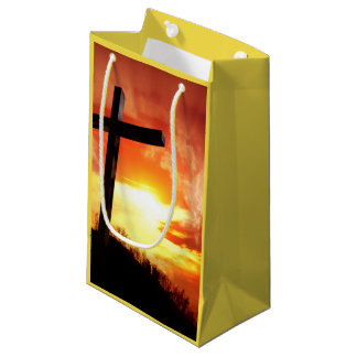 Religiöses Ostern-Kreuz am Sonnenuntergang Kleine Geschenktüte