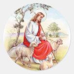 Religiöses Vintages Ostern, Jesus der Schäfer Runder Aufkleber