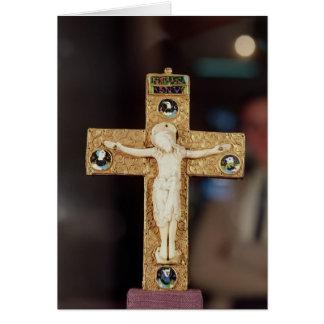 Reliquarykruzifix, Elfenbein Christus auf Grußkarte