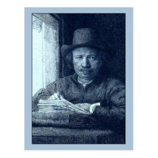 Rembrandt, der an einem Fenster zeichnet Postkarte