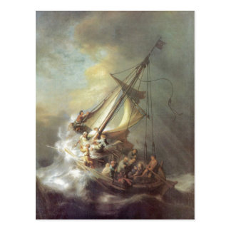 Rembrandt Harmensz. van Rijn Christus im Sturm auf Postkarte