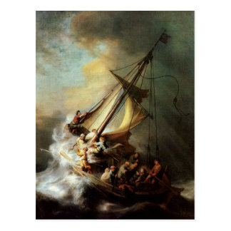 Rembrandt-Kunst, die Christus im Sturm malt Postkarte