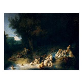 Rembrandt-Kunst, die Diana-Baden malt Postkarte