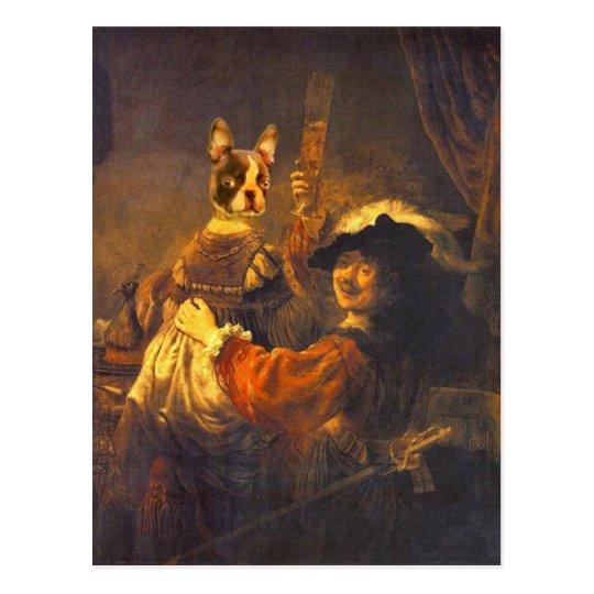 Rembrandt mit Bosti auf dem Schoß Postkarte