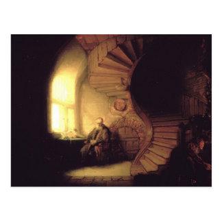 Rembrandt-Philosoph in der Meditation Postkarte