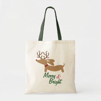 Ren-Dackel-fröhliche u. helle WeihnachtsTasche Tragetasche