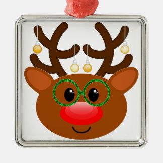 Ren mit Gläsern Quadratisches Silberfarbenes Ornament