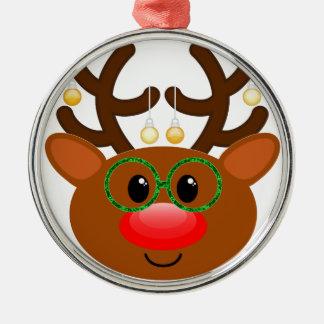 Ren mit Gläsern Rundes Silberfarbenes Ornament
