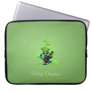 Ren-Tanzen-Gitarren-fröhlicher Weihnachtsbaum Laptopschutzhülle