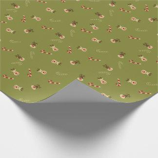 Ren und Zuckerstange-WeihnachtsPackpapier Geschenkpapier