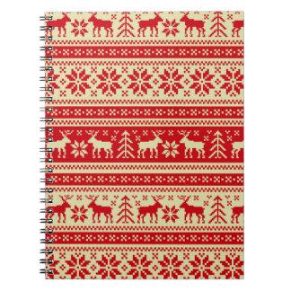 Ren-Weihnachten gestricktes Muster Notizblock