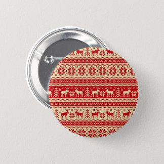 Ren-Weihnachten gestricktes Muster Runder Button 5,1 Cm