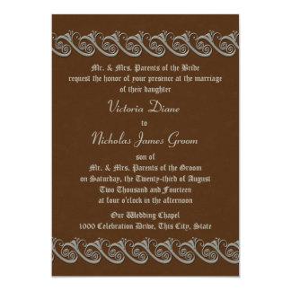 Renaissance Brown mit antiker silberner Hochzeit 12,7 X 17,8 Cm Einladungskarte