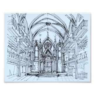 Renaissance gotisches Orensanz, das im Blau zeichn Fotodrucke