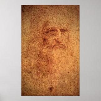 Renaissance-Kunst-Selbstporträt durch Leonardo da Poster