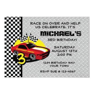 Rennen-Auto-3. Geburtstags-Party Einladung