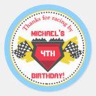 Rennen-Auto-Geburtstags-Gastgeschenk-Aufkleber Runder Aufkleber