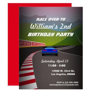 Rennen-Bahn-Rennen-Auto-Kindergeburtstag-Party 10,8 X 14 Cm Einladungskarte