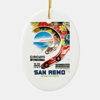 Rennen-Plakat 1947 San Remo Grandprix Ovales Keramik Ornament