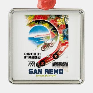 Rennen-Plakat 1947 San Remo Grandprix Quadratisches Silberfarbenes Ornament