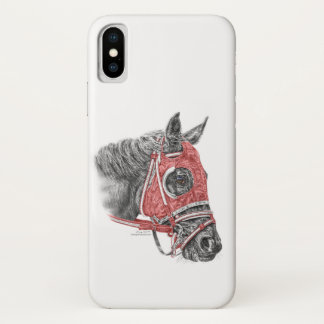 Rennpferd-Porträt-Seiden iPhone X Hülle