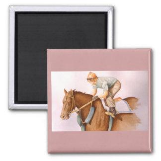 Rennpferd-und Jockey-Aquarell Quadratischer Magnet