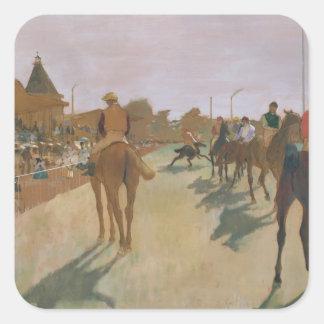 Rennpferde Edgar Degass   vor den Ständen Quadratischer Aufkleber
