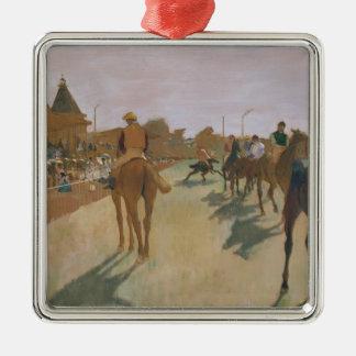 Rennpferde Edgar Degass | vor den Ständen Quadratisches Silberfarbenes Ornament