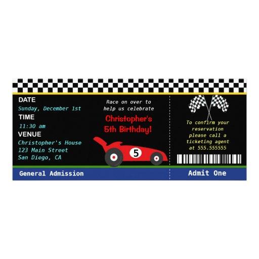 Rennwagen-Rennläufer-Geburtstags-Einladung