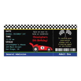 Rennwagen-Rennläufer-Geburtstags-Einladung 10,2 X 23,5 Cm Einladungskarte