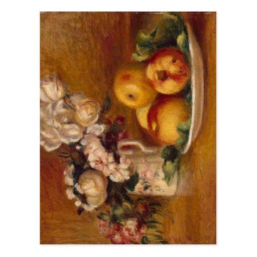 Renoir Äpfel und Blumen Postkarte
