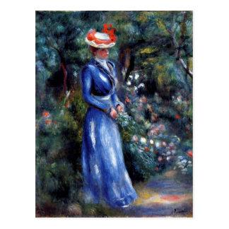 Renoir - Frau in einem blauen Kleid Postkarte