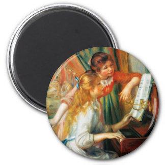 Renoir Mädchen am Klavier-Magneten Runder Magnet 5,7 Cm